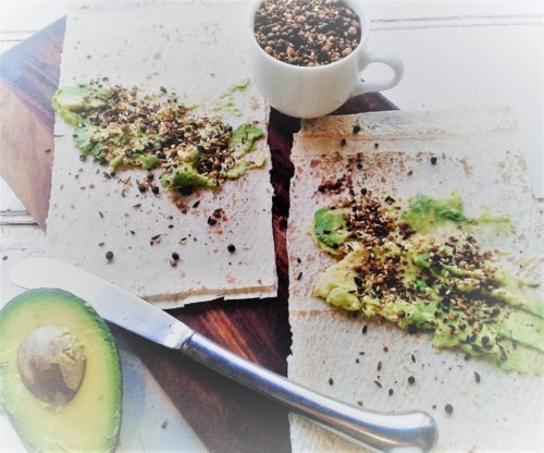 flatbread, avocado & dukkah